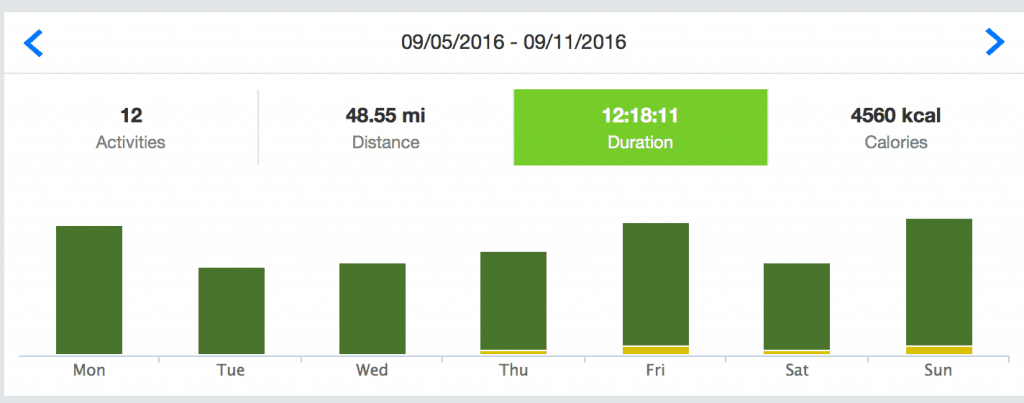 Runtastic Distance Graph
