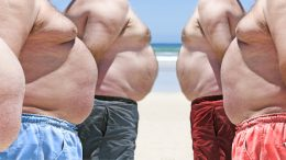 Five very obese fat men on the beach