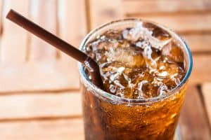 Cold glass of soda drink