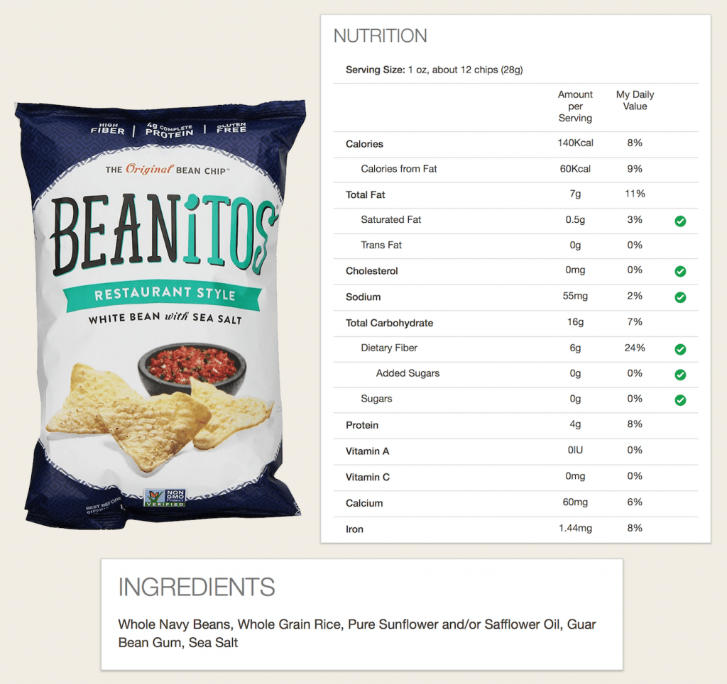 Beanitos Packaging, Nutrition, and Ingredients.