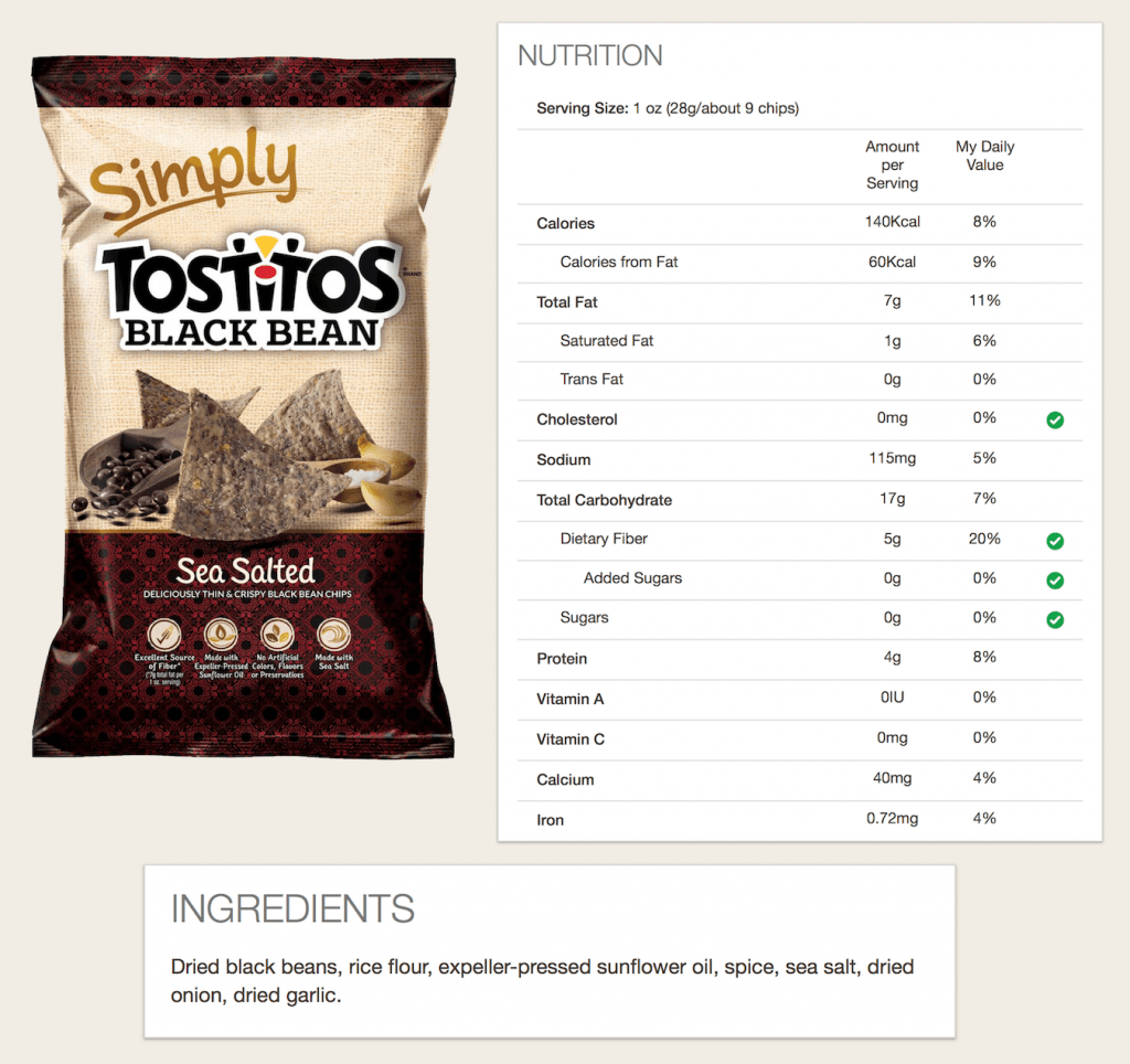 Tostitos Black Bean Package, Ingredients, and Nutrition.