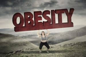Woman lifting obesity
