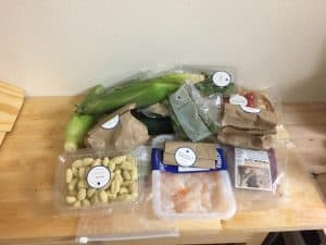 Contents of Blue Apron Box