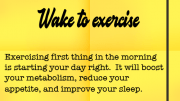 Weight loss tip 108 - Wake to exercise