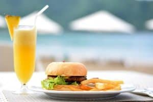 Burger, Fries, and Juice
