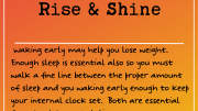 Weight loss tip: Rise and Shine